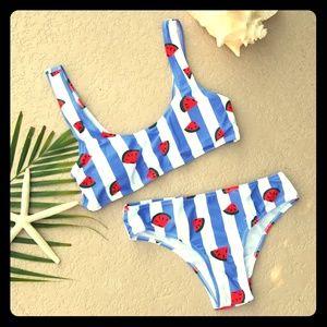 Other - Watermelon Print Periwinkle Striped Bikini Set M